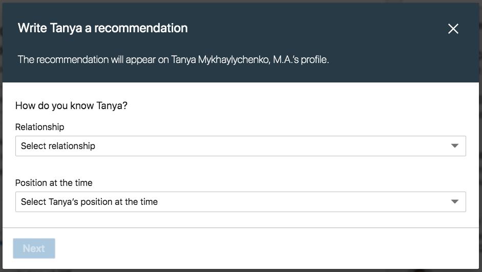 recommendation linkedin